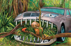 Illustration: a car chewing its way through the rainforest