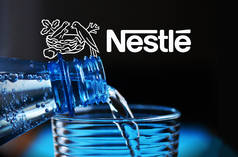 Water bottle close-up with Nestlé logo