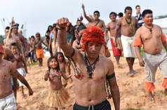 Indigenous Mundurukú people protesting the planned construction of a dam on the Tapajos river in Brazil