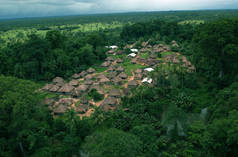 Aerial photo of a village in Sierra Leone