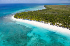 Aerial view of the tropical island Saona with coconut palms and turquoise Caribbean sea