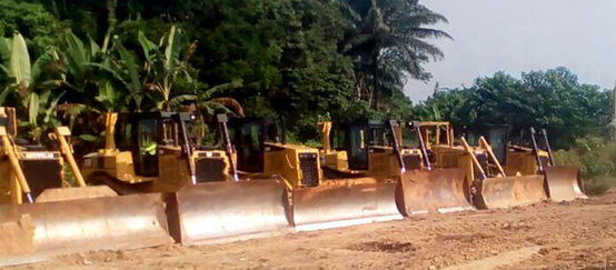 "Bulldozers at the site of the ""superhighway"""