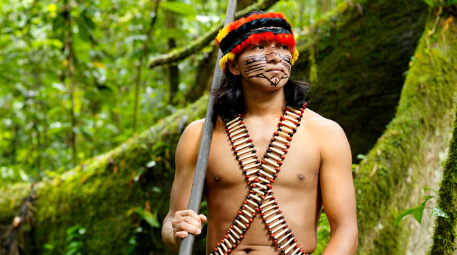 An indigenous man wearing feathers and a painted face standing in the forest with a blowpipe