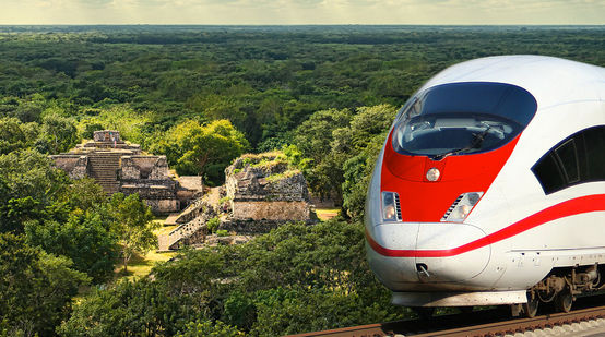 Montage of high-speed train and Mayan ruins: Ek Balam in Yucatán