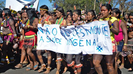 Protesting indigenous women in Brazil