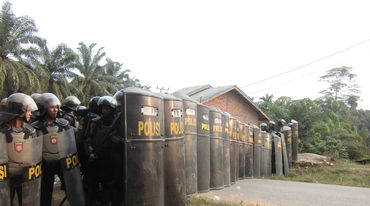 Indonesia: police securing oil palm plantation