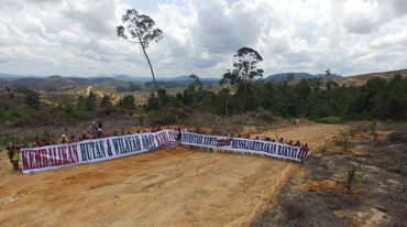 Protesting against oil palm plantations in Borneo