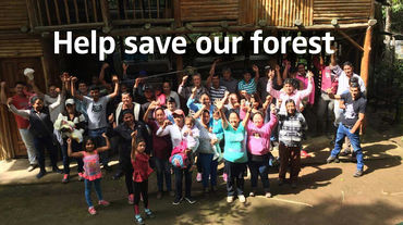 "People protesting with raised fists. Text ""Help save our forest"""