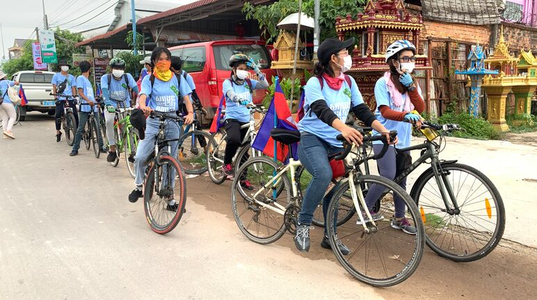 Eight young activists set off on their bicycles
