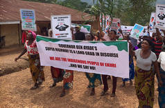 "Ekuri people protesting the ""superhighway"" project"