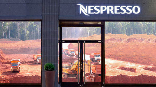 A bauxite mine in a Nespresso boutique window