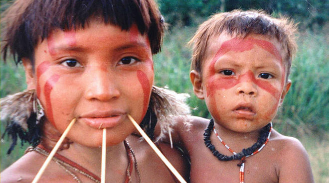 Yanomami adult and child
