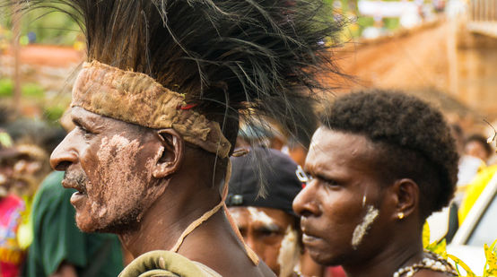 Men of the Mahuze indigenous people in Papua