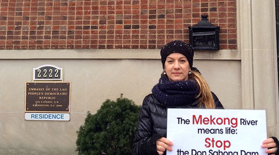 Elisa Norio in front of the Embassy of Laos in Washington DC