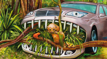 A car chewing its way through the rainforest