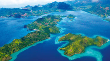 Aerial photo of islands in the Palawan region