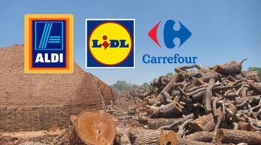 Primitive charcoal ovens and felled trees in the Paraguayan Chaco together with the brand logos of Aldi, Carrefour, Lidl