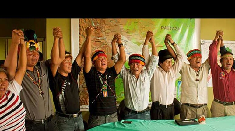 Cheering indigenous people of Ecuador