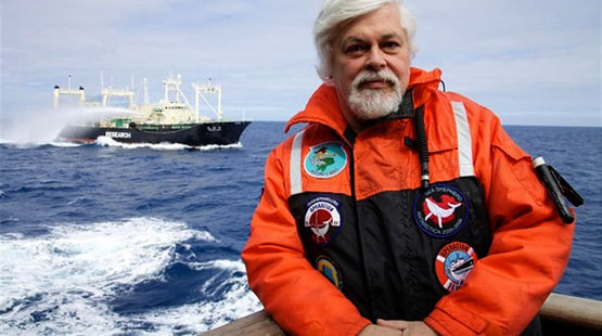 Paul Watson sitting in a boat on sea